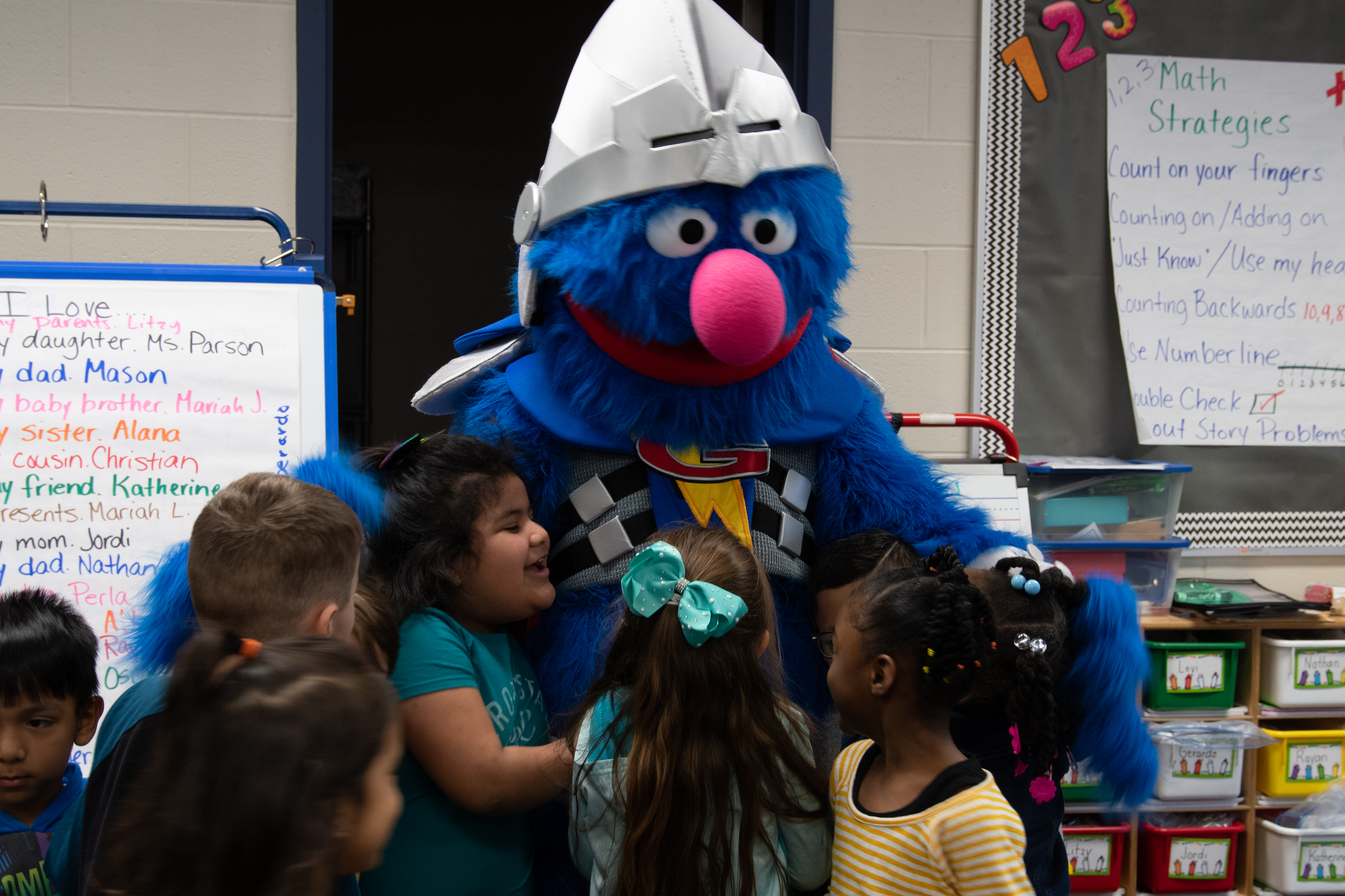 super grover with KCKPS students