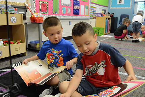 2 preschool boys looking at books