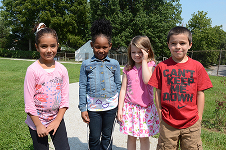 Noble Prentis Elementary students on walking trail