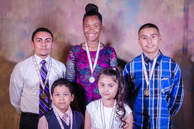 May 2015 KCK Public Schools, Students of the Month - Back row (from left)  Alejandro Mendoza, 11th grade, Wyandotte High School, Abrianna Mitchell, ...