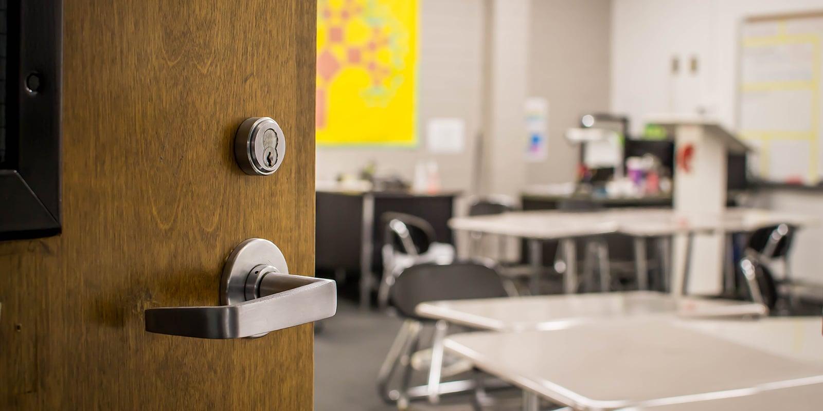 door opening into a classroom
