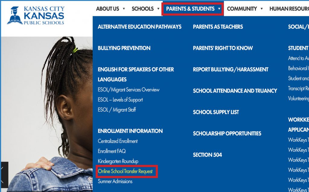 """Click the """"Online School Transfer Request"""" button on the """"Parents and Students"""" tab of the main menu."""