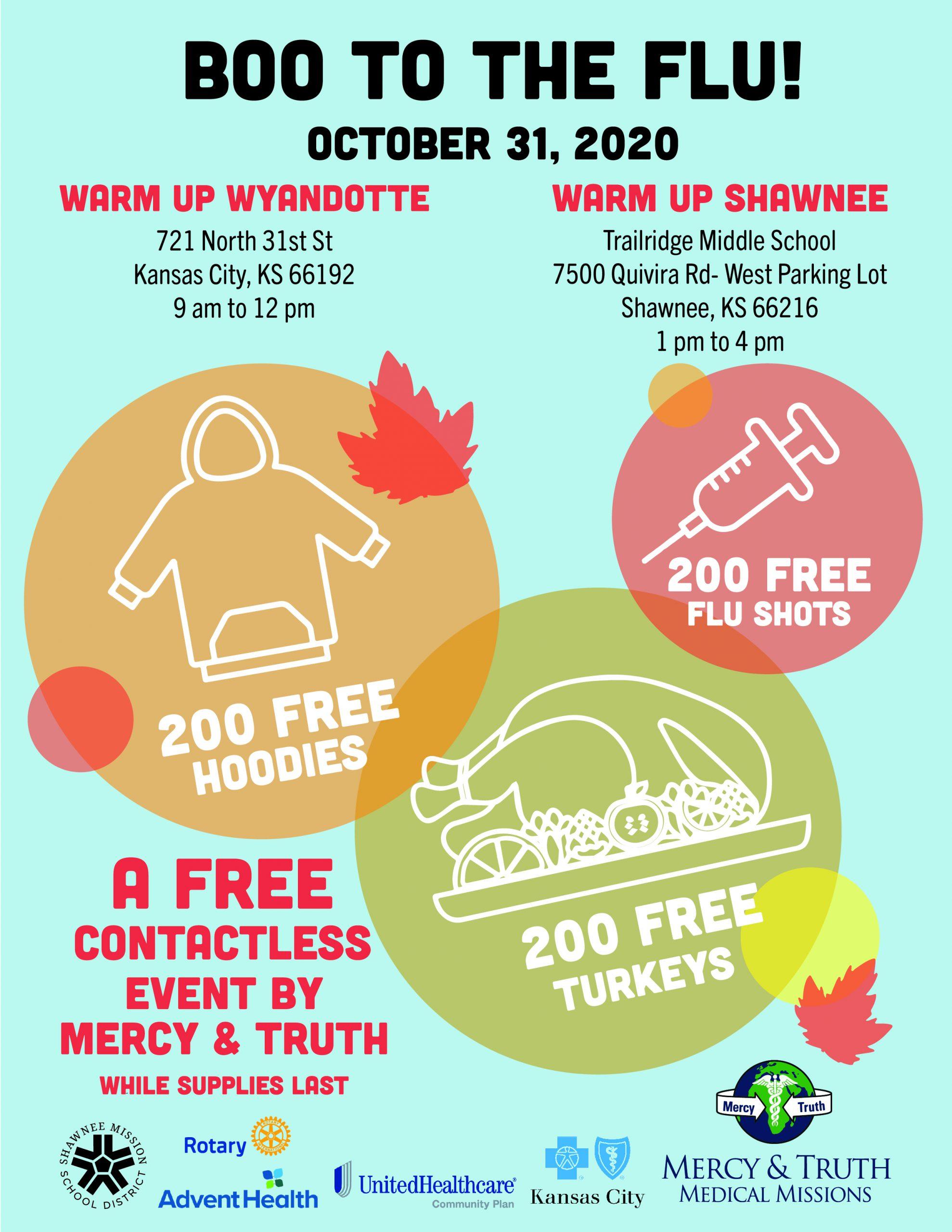 Free Flu Shots - Halloween - 721 N. 31st Street, KCK, 9am-12pm, and Trailridge Middle School in Shawnee, KS