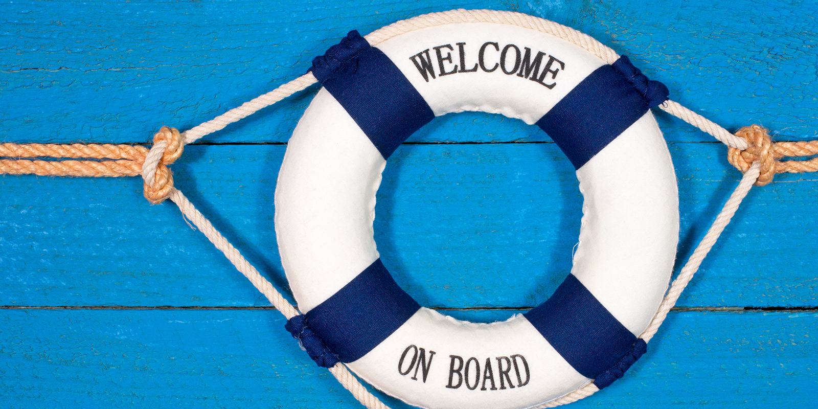 """raft that says """"Welcome on Board"""""""