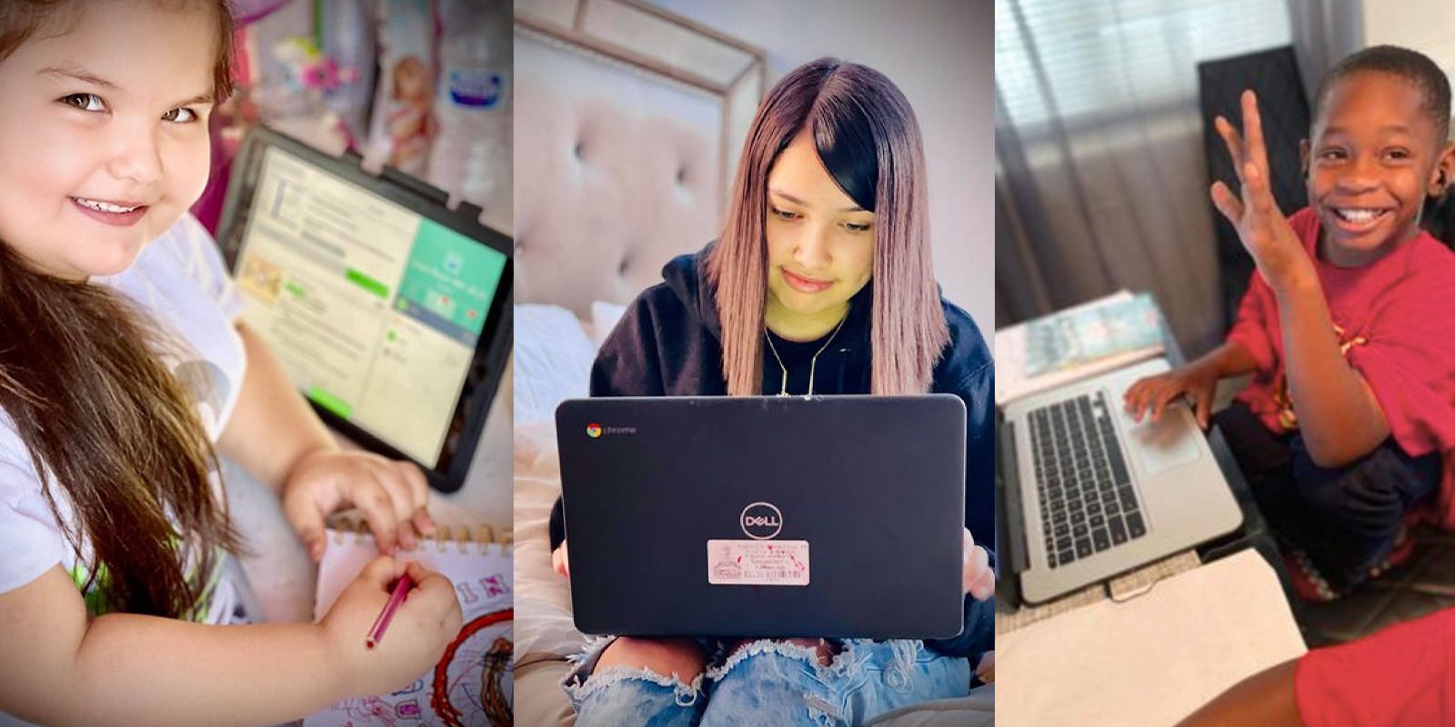 students learning from home
