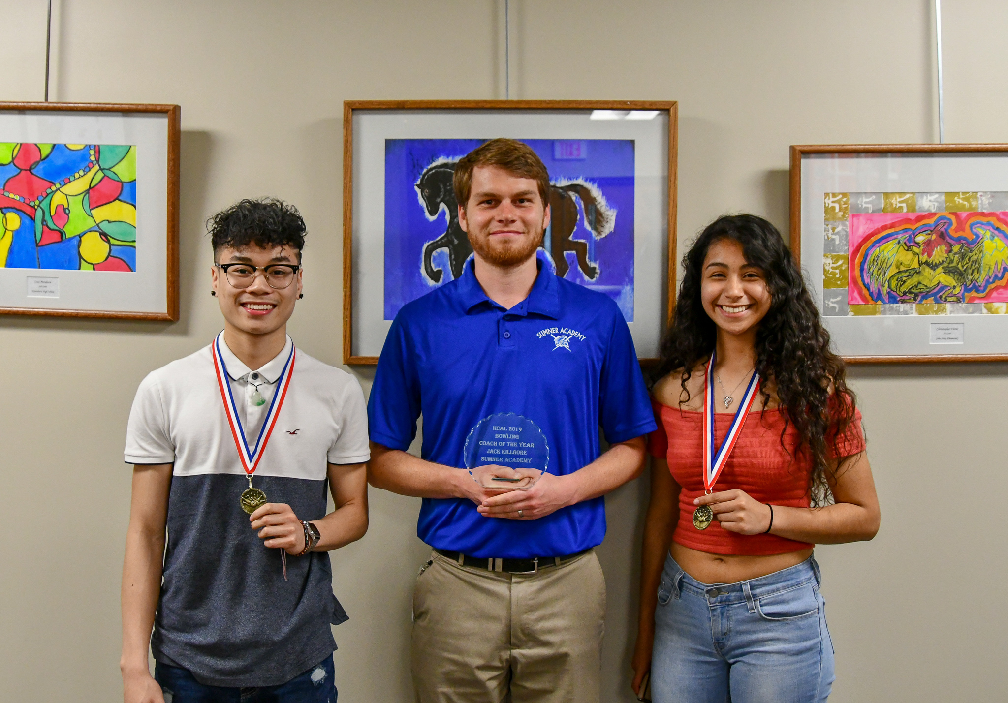 KCAL Player of the Year (Boys Bowling) Andy Lau, KCAL Coach of the Year Jack Kilgore, and 2019 KSHAA State Participant (Bowling), Saida Soriano